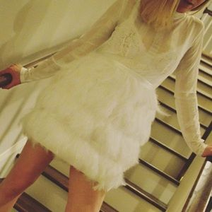 PrettyLittleThing White Feather Skirt Dress